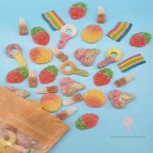 Load image into Gallery viewer, Fizzy sweets - Rainbow Stripes - strawberry flavoured sweets - sour sweets - fizzy peaches - cola bottles - the little candy box company