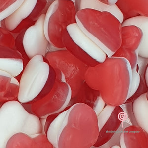 Red and white strawberry heart shaped gummy sweets