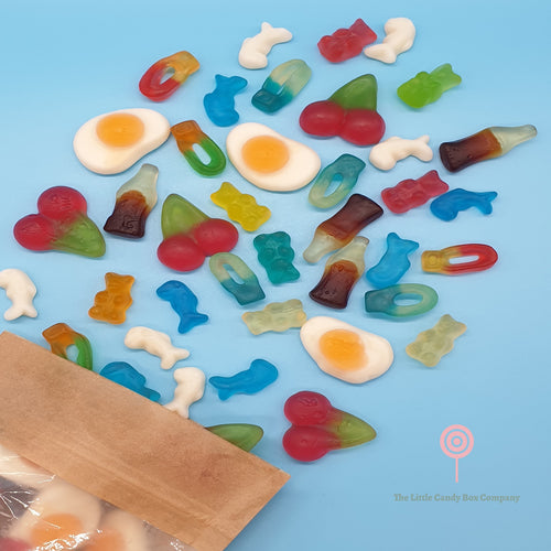 gummy mix sweets - gummy pouch - cola bottles - fried eggs