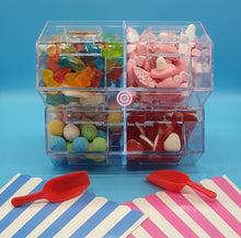 Load image into Gallery viewer, traditional British pick n mix stand - pick and mix and stripe bags