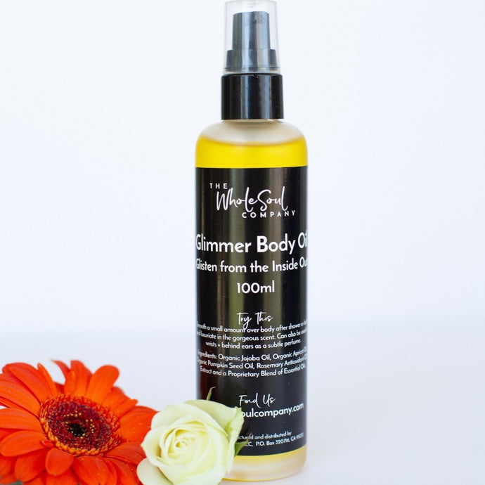 glimmer body oil - glimmer from the inside out.  all natural and organic body oil from the wholesoul company