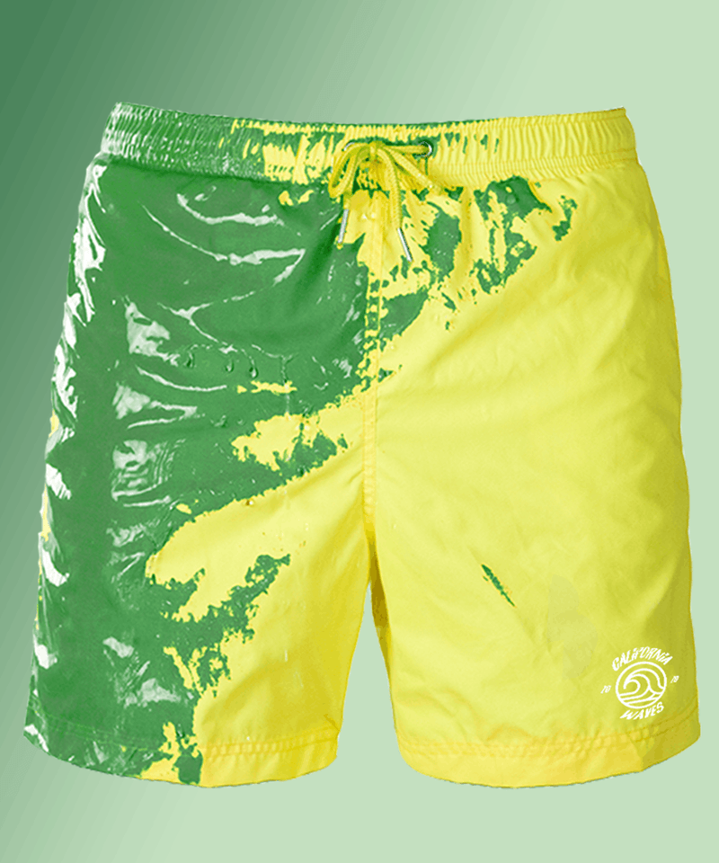 Green-Yellow color changing swimshorts