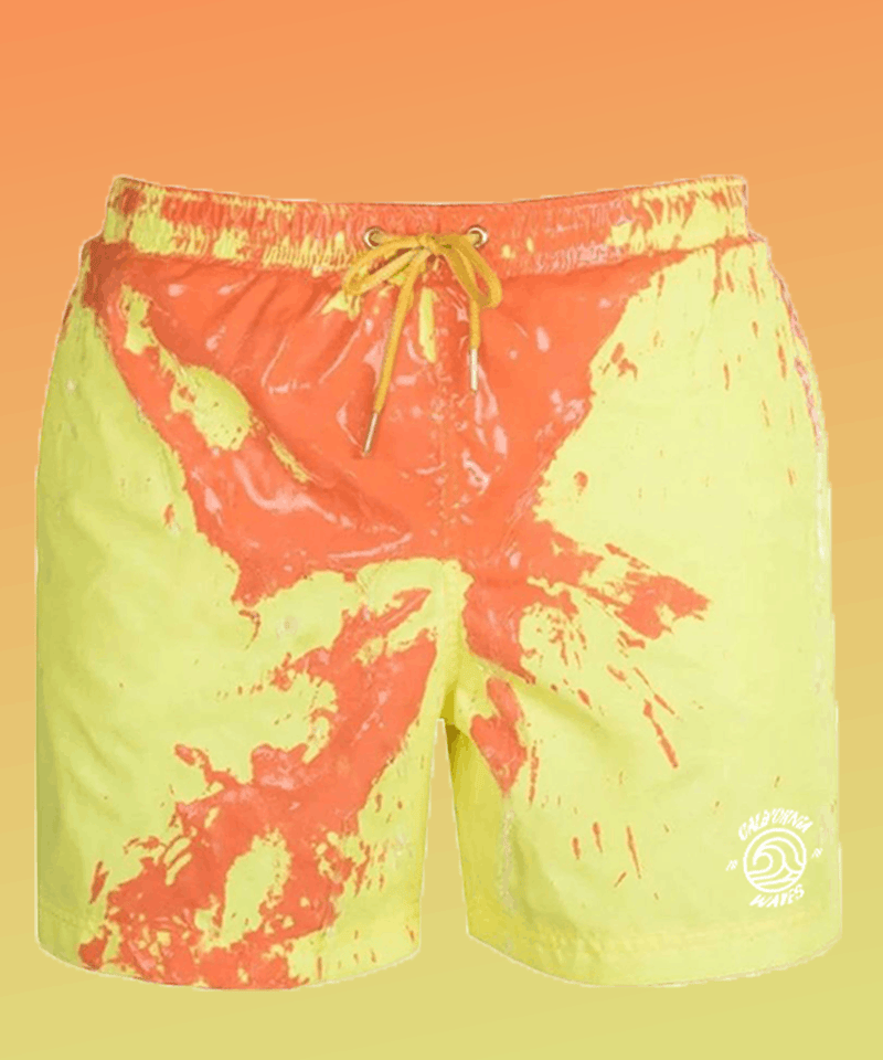 Orange-yellow color changing swimshorts