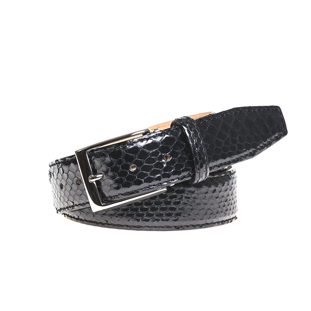 Black Python Belt - Men's Designer Belts - RogerXimenez.com