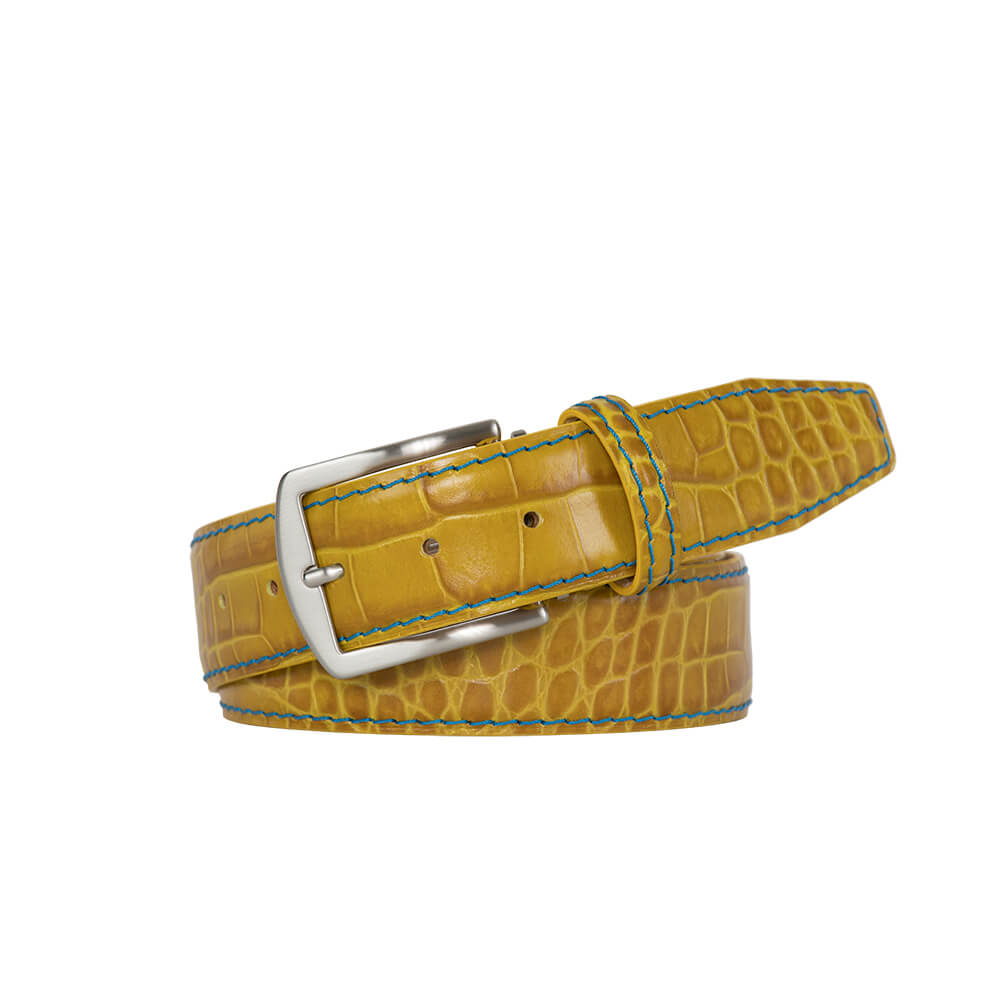 Mustard Mock Croc Leather Belt