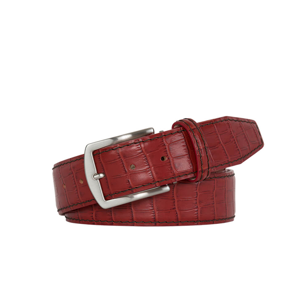 Dark Red Mock Croc Leather Belt