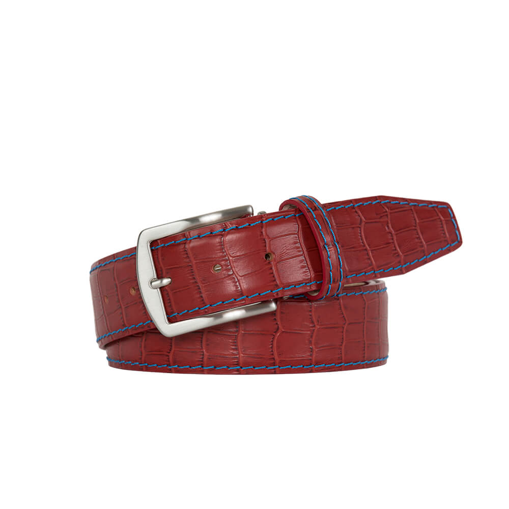 Brick Red Mock Croc Leather Belt