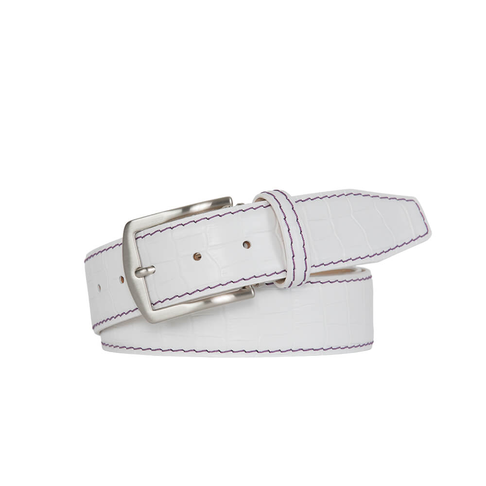 White Mock Croc Leather Belt - Purple / 44 / 40mm | Mens Fashion & Leather Goods by Roger Ximenez