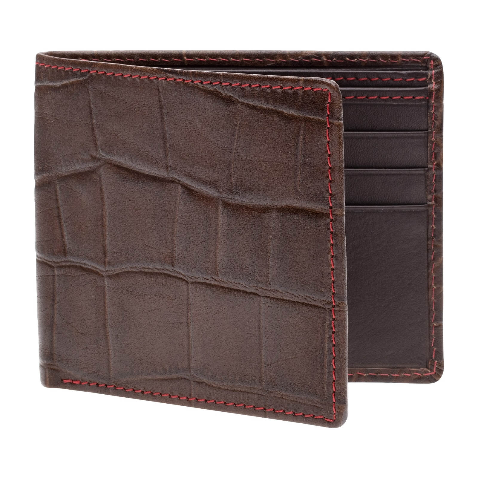 Bark Mock Gator Vegetable tan Leather Wallet - Red / Brown / One Size | Mens Fashion & Leather Goods by Roger Ximenez