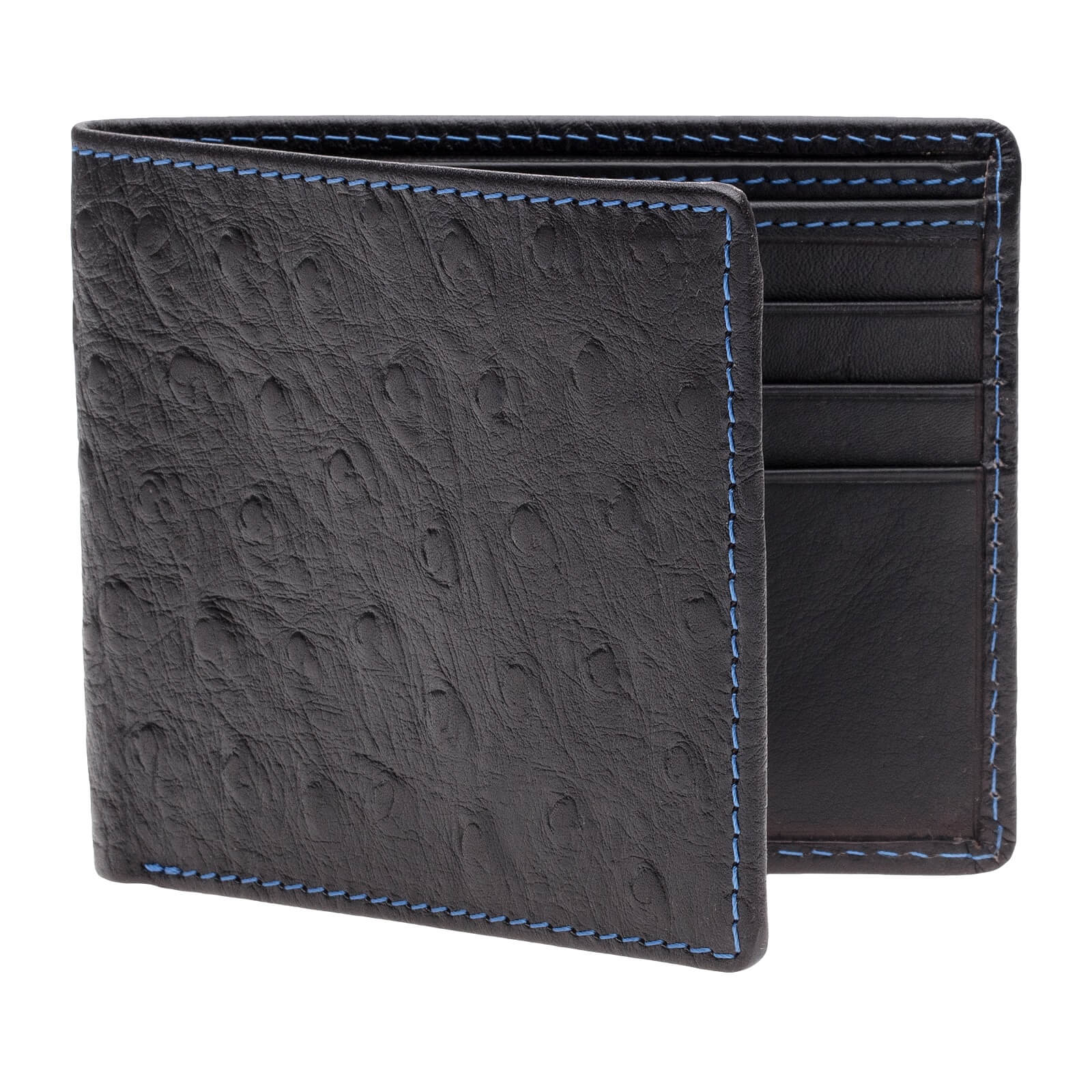 Black Mock Ostrich Vegetable Tan Leather Wallet - Cobalt / Black / One Size | Mens Fashion & Leather Goods by Roger Ximenez