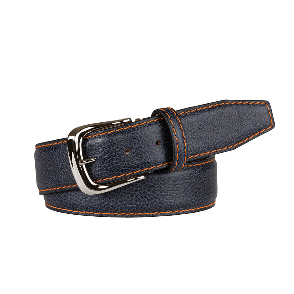Charcoal Blue Italian Pebble Grain Belt - Orange / 44 / 35mm | Mens Fashion & Leather Goods by Roger Ximenez
