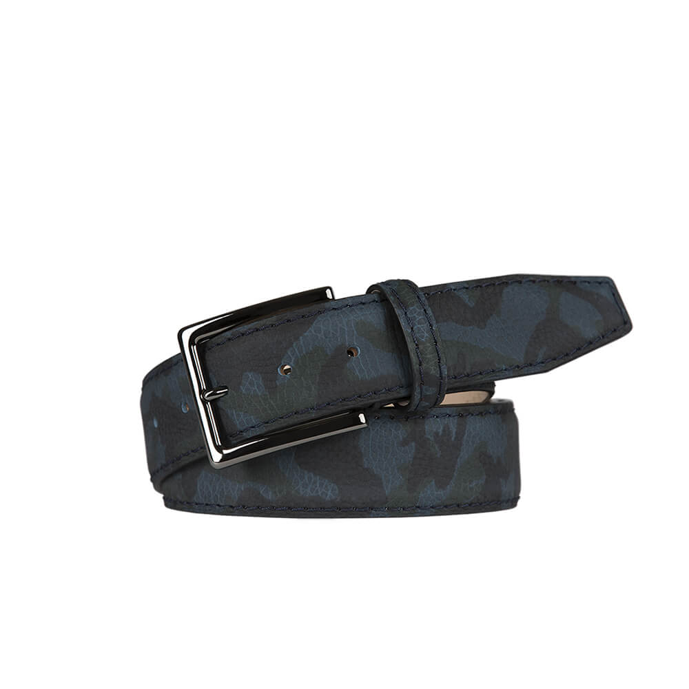 Blue Camo pebble Calf Leather Belt - Men's Designer Belts - RogerXimenez.com