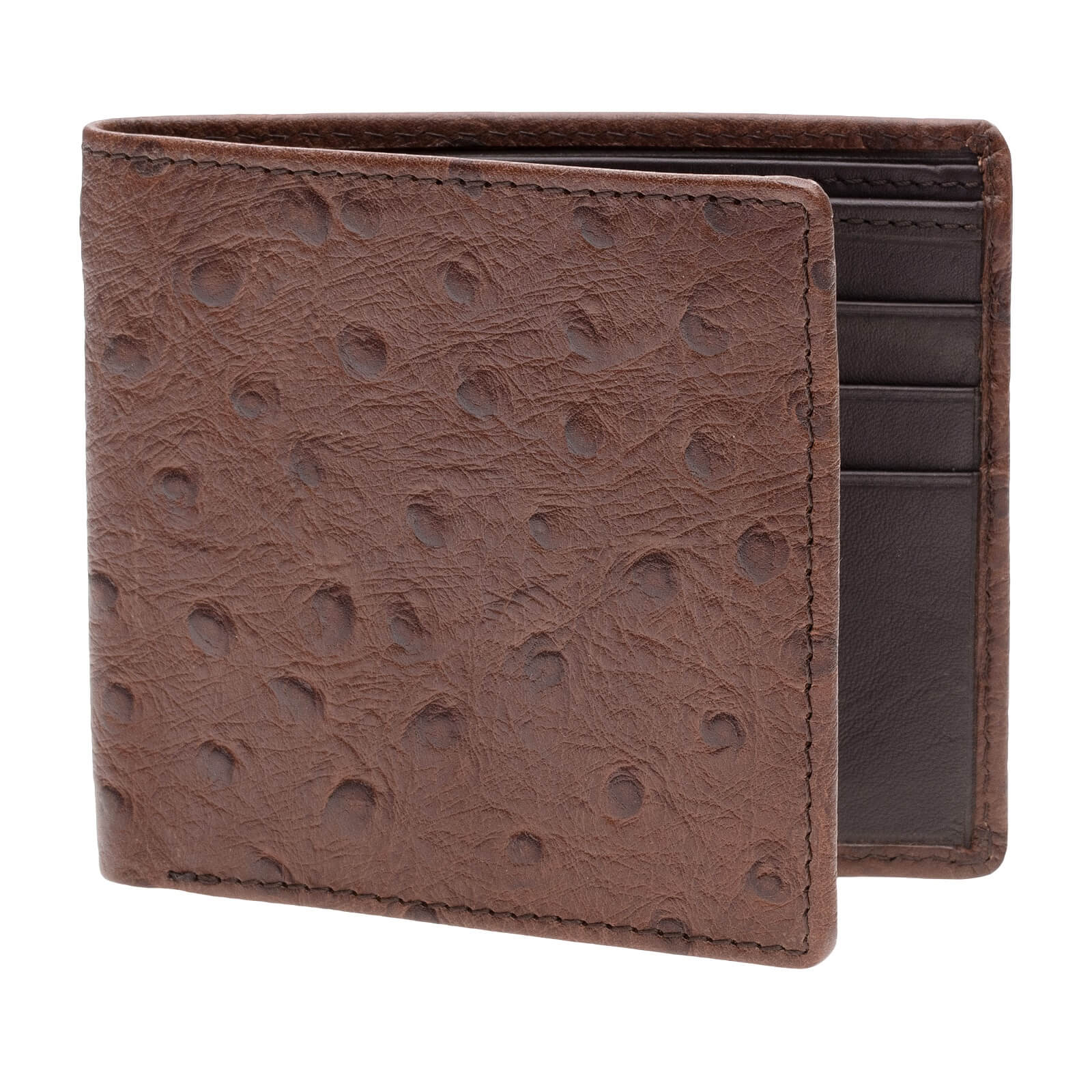 Brown Mock Ostrich Vegetable Tan Leather Wallet - Brown / Brown / One Size | Mens Fashion & Leather Goods by Roger Ximenez