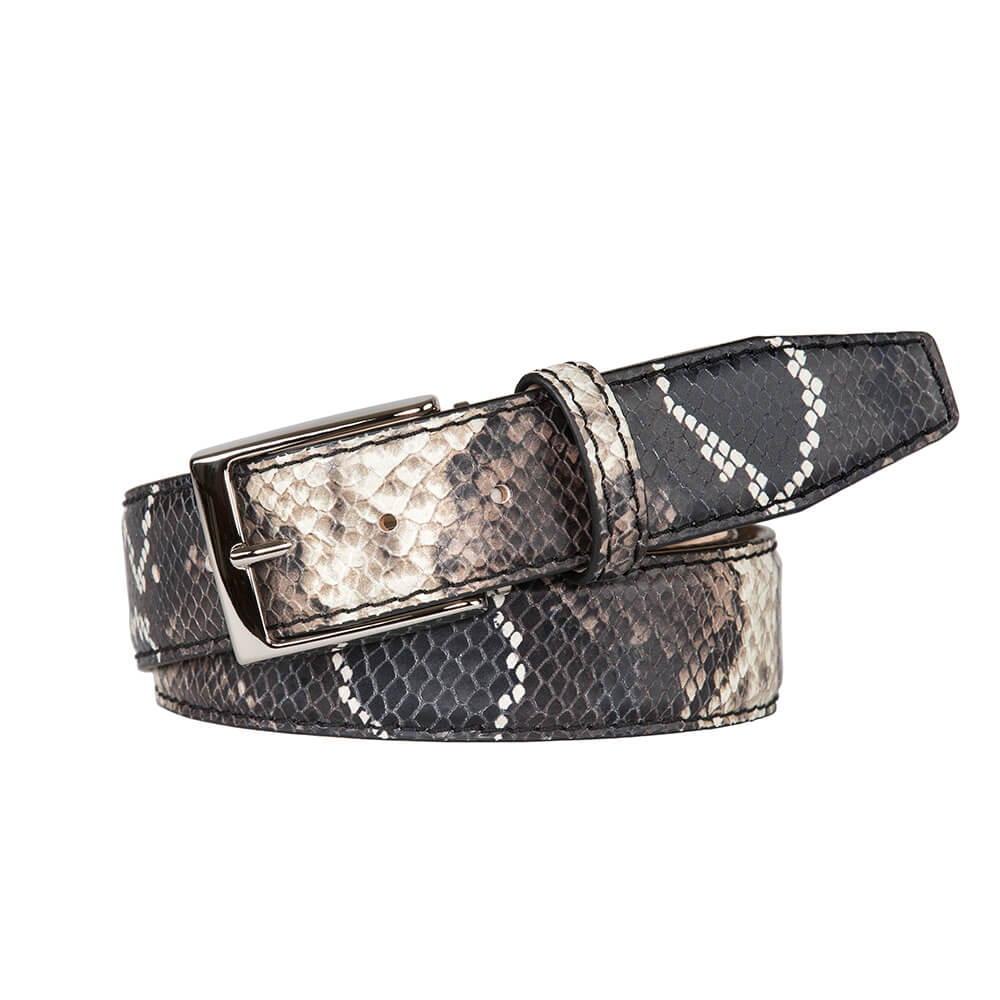 Brown Mock Python Belt - Men's Designer Belts - RogerXimenez.com