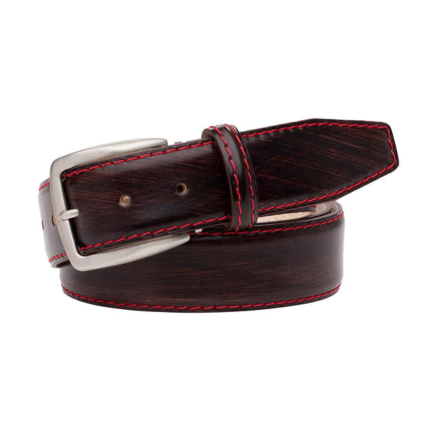 Hand stained Brown Veg Tan Belt 1