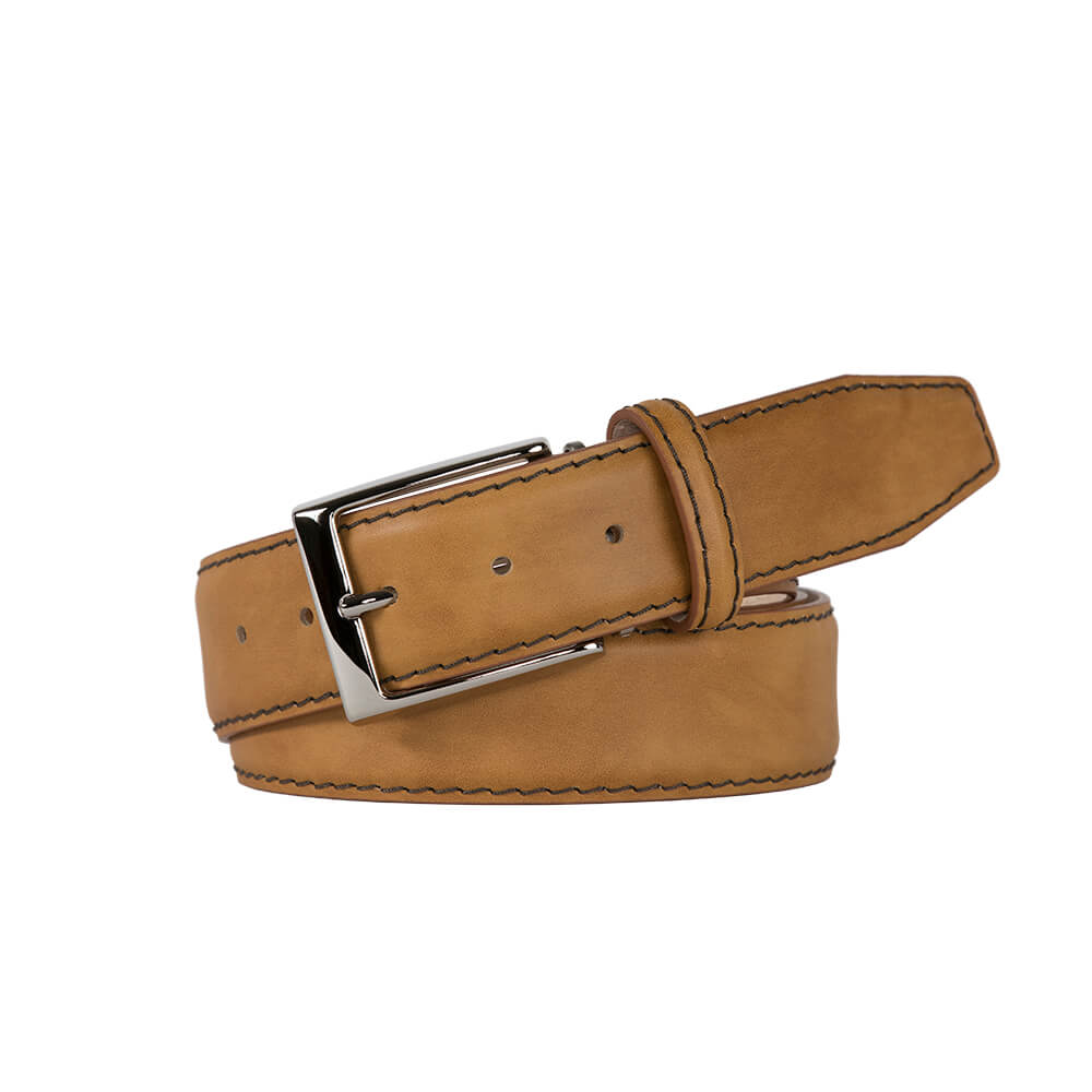 Caramel Smooth Italian Calf Leather Belt - Ecru / 44 / 35mm | Mens Fashion & Leather Goods by Roger Ximenez