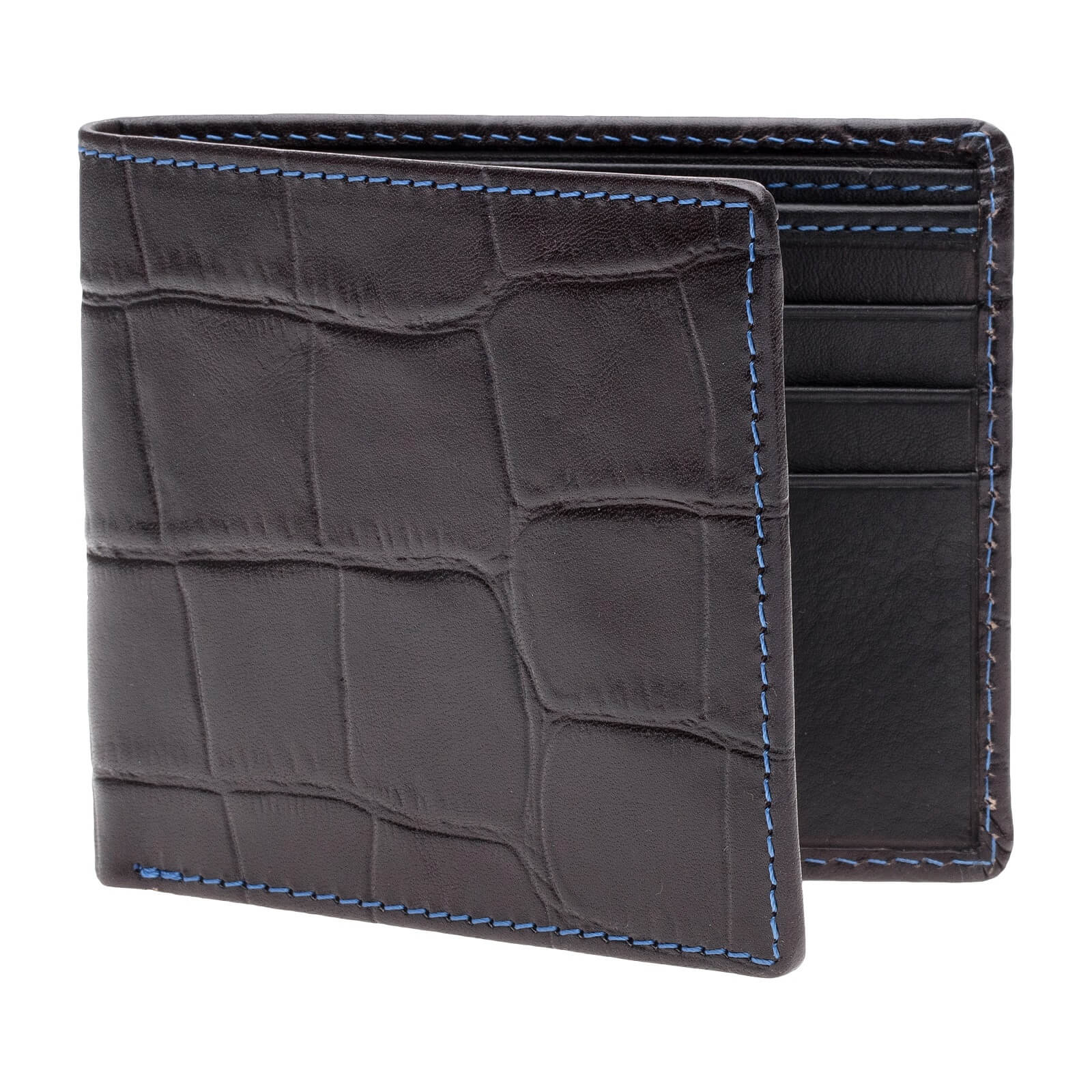 Charcoal Mock Gator Vegetable Tan Leather Wallet - Cobalt / Charcoal / One Size | Mens Fashion & Leather Goods by Roger Ximenez