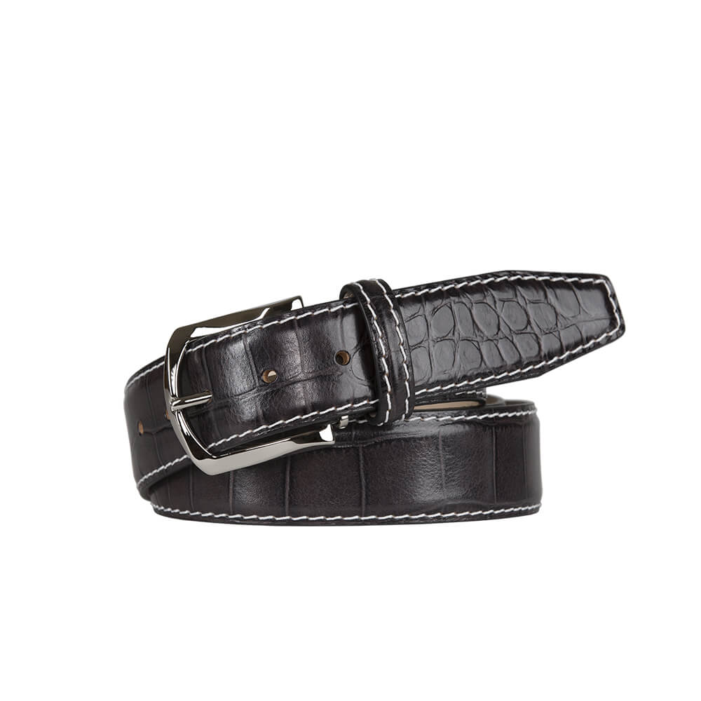 Classic Dark Gray Mock Gator Leather Belt - White / 44 / 35mm | Mens Fashion & Leather Goods by Roger Ximenez