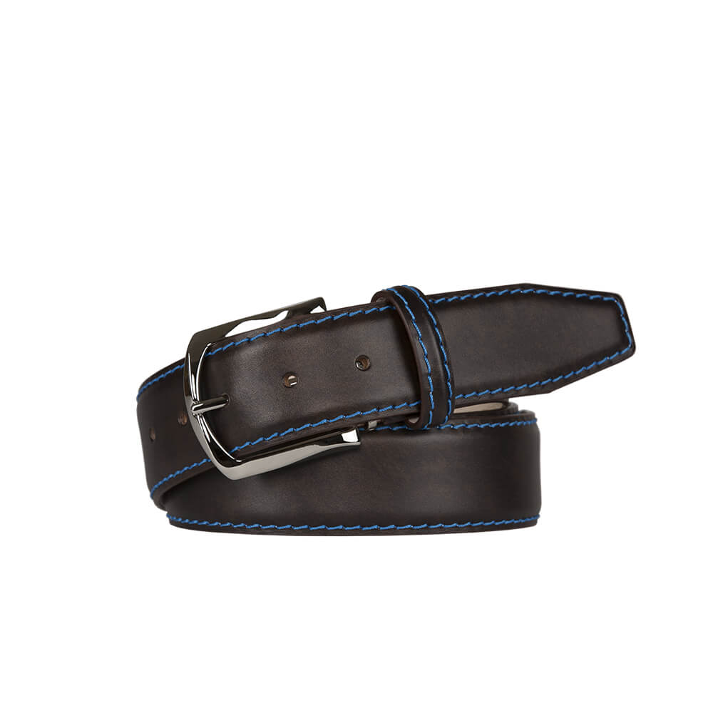 Driftwood Brown Surf Calf Leather Belt - Cobalt / 44 / 35mm | Mens Fashion & Leather Goods by Roger Ximenez