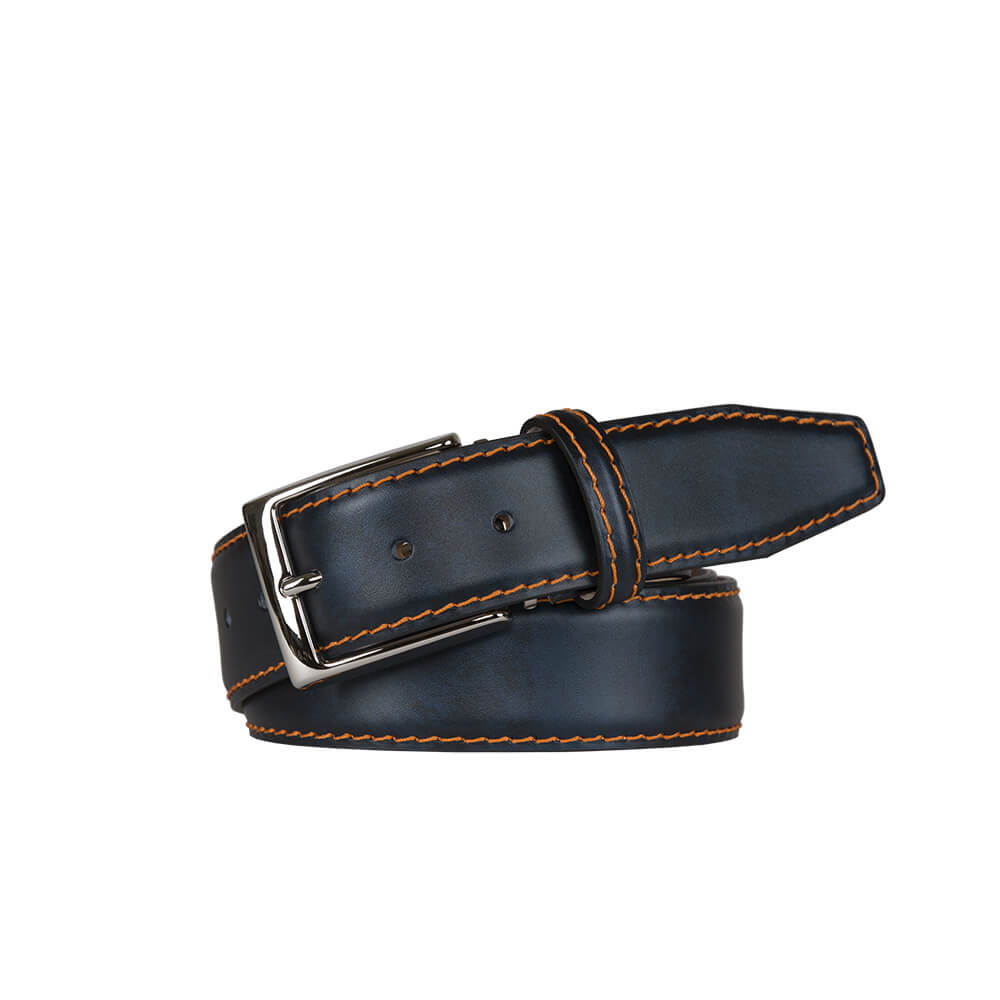 Ocean Surf Calf Leather Belt - Orange / 44 / 35mm | Mens Fashion & Leather Goods by Roger Ximenez