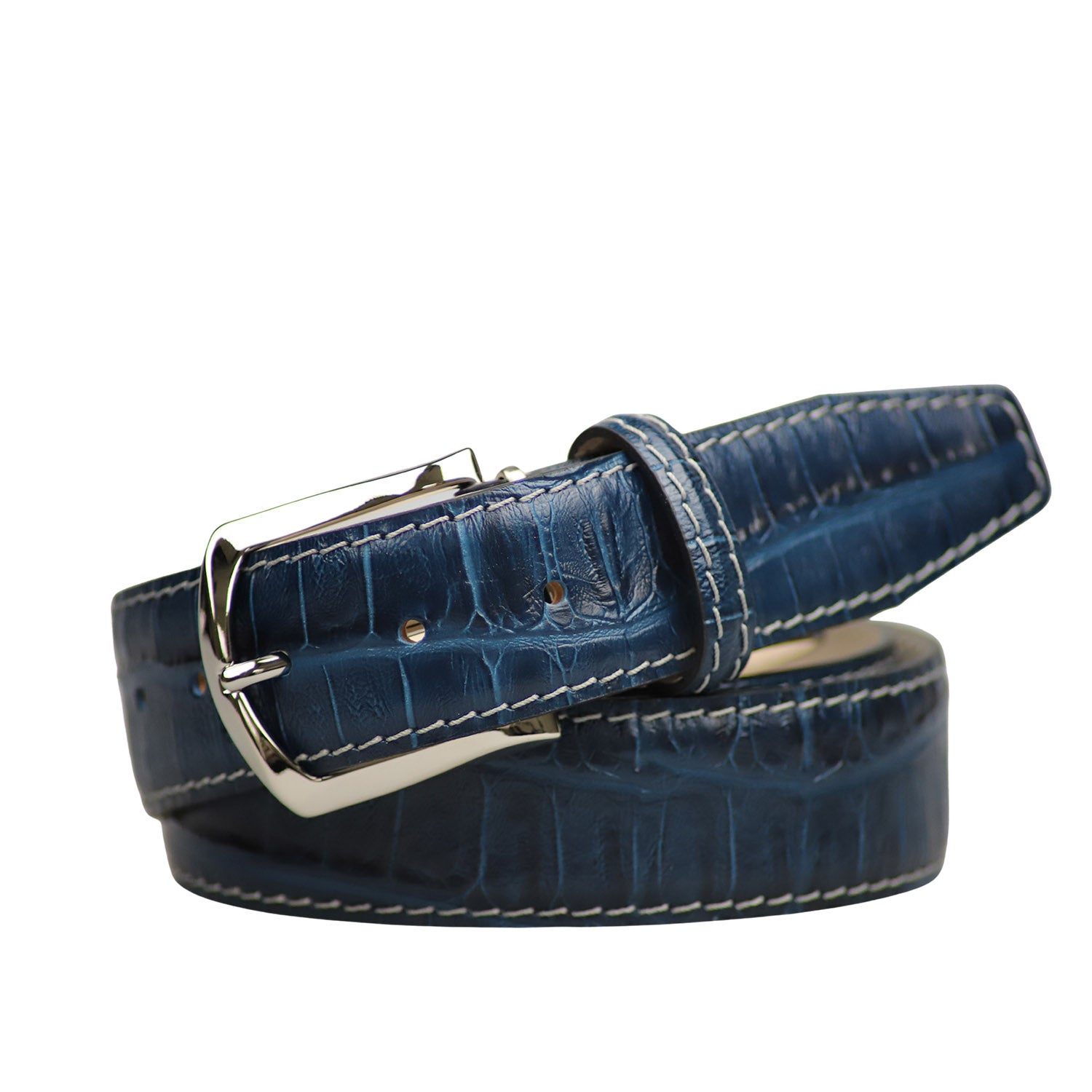 Mock Caiman Federal Blue Belt - Gray / 44 / 35mm | Mens Fashion & Leather Goods by Roger Ximenez