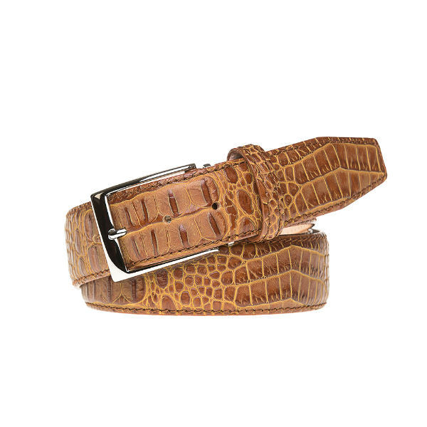 Gold Mock Croc Leather Belt - Cognac / 44 / 35mm | Mens Fashion & Leather Goods by Roger Ximenez