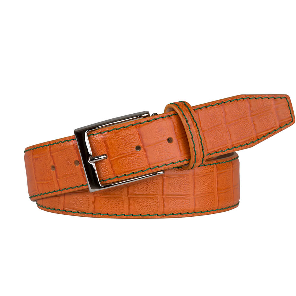 Mock Caiman Orange Belt - Men's Designer Belts - RogerXimenez.com