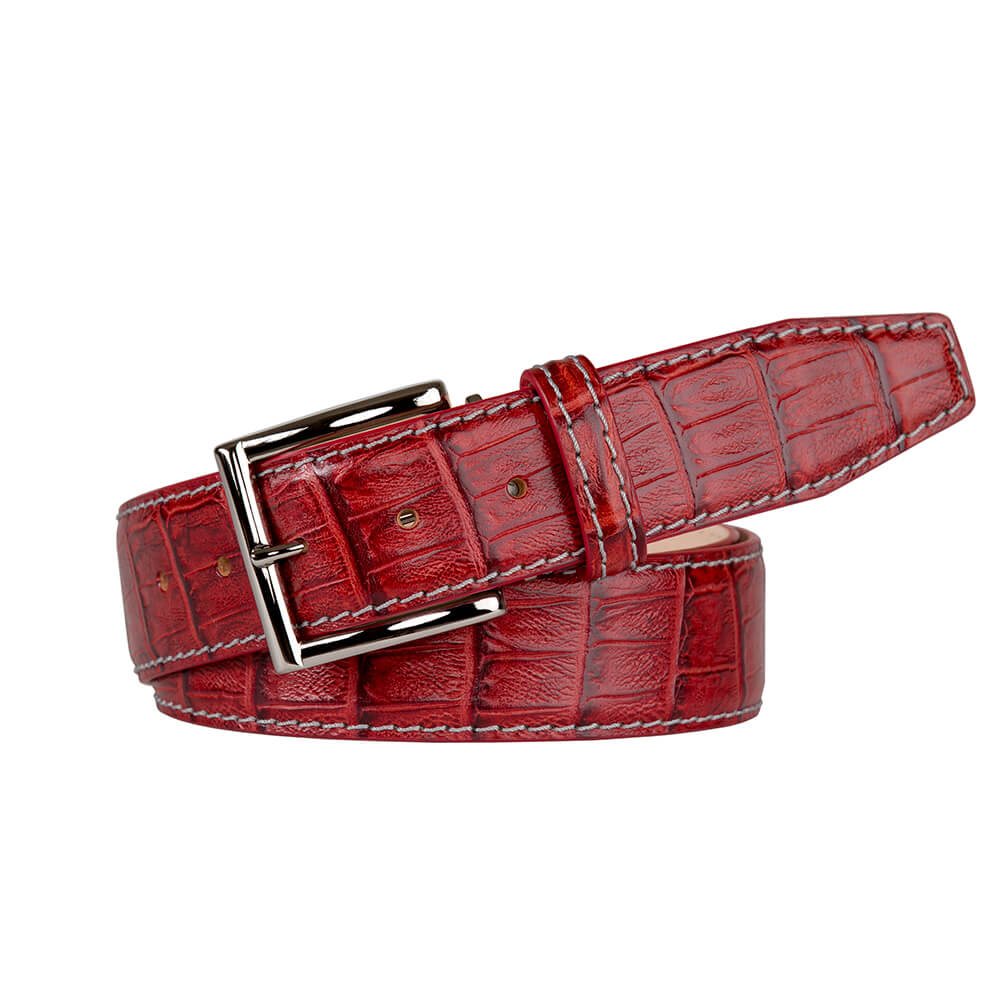 Mock Caiman Crimson Red Belt - Men's Designer Belts - RogerXimenez.com