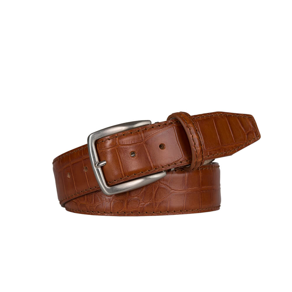 Matte Scotch Mock Gator Leather Belt