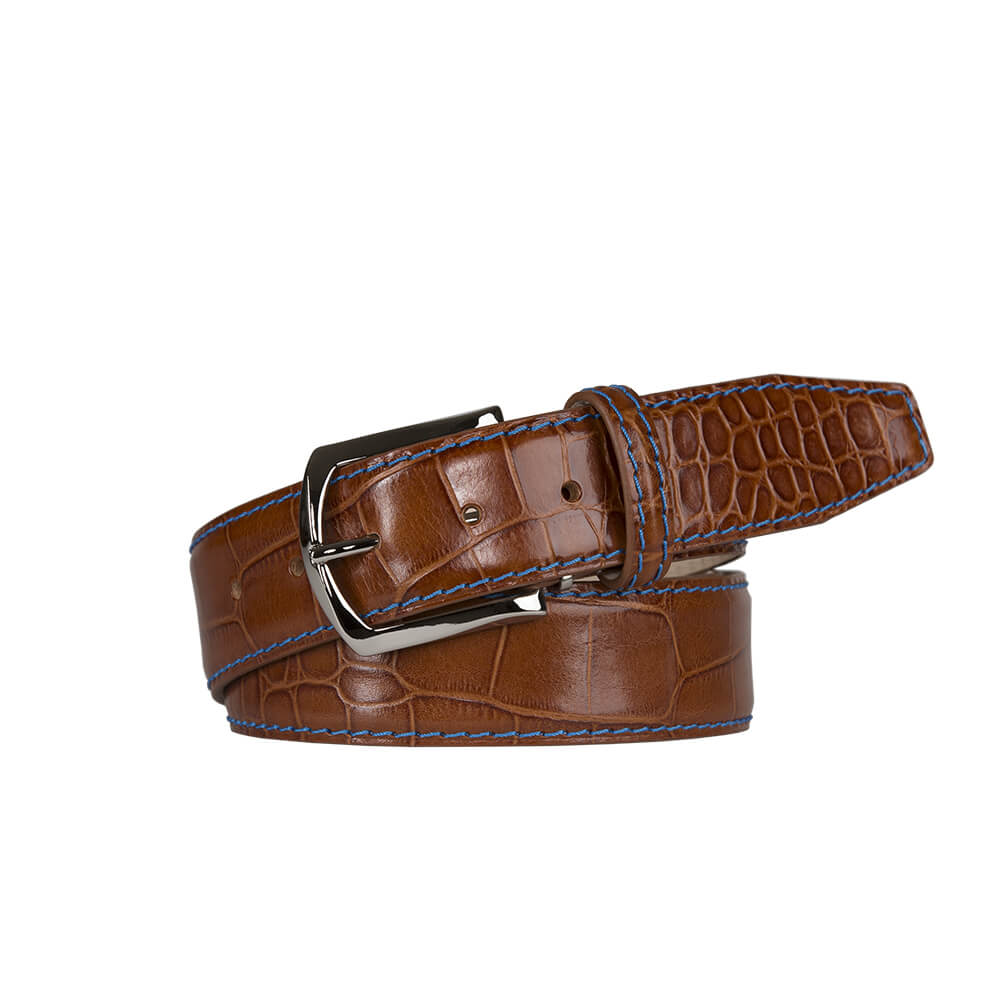 Classic Finish Cognac Mock Gator Leather Belt