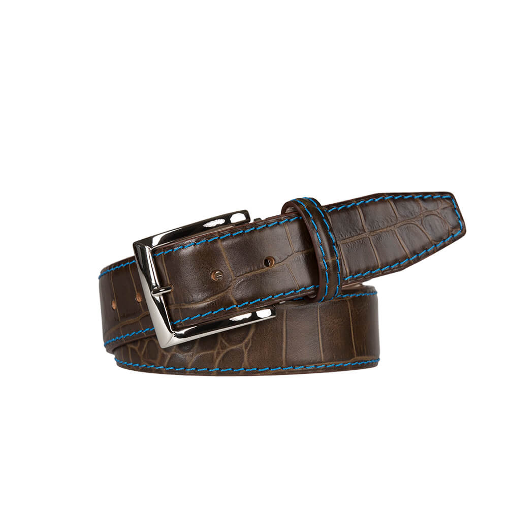 Matte Dark Brown Mock Gator Leather Belt - Cobalt / 44 / 35mm | Mens Fashion & Leather Goods by Roger Ximenez