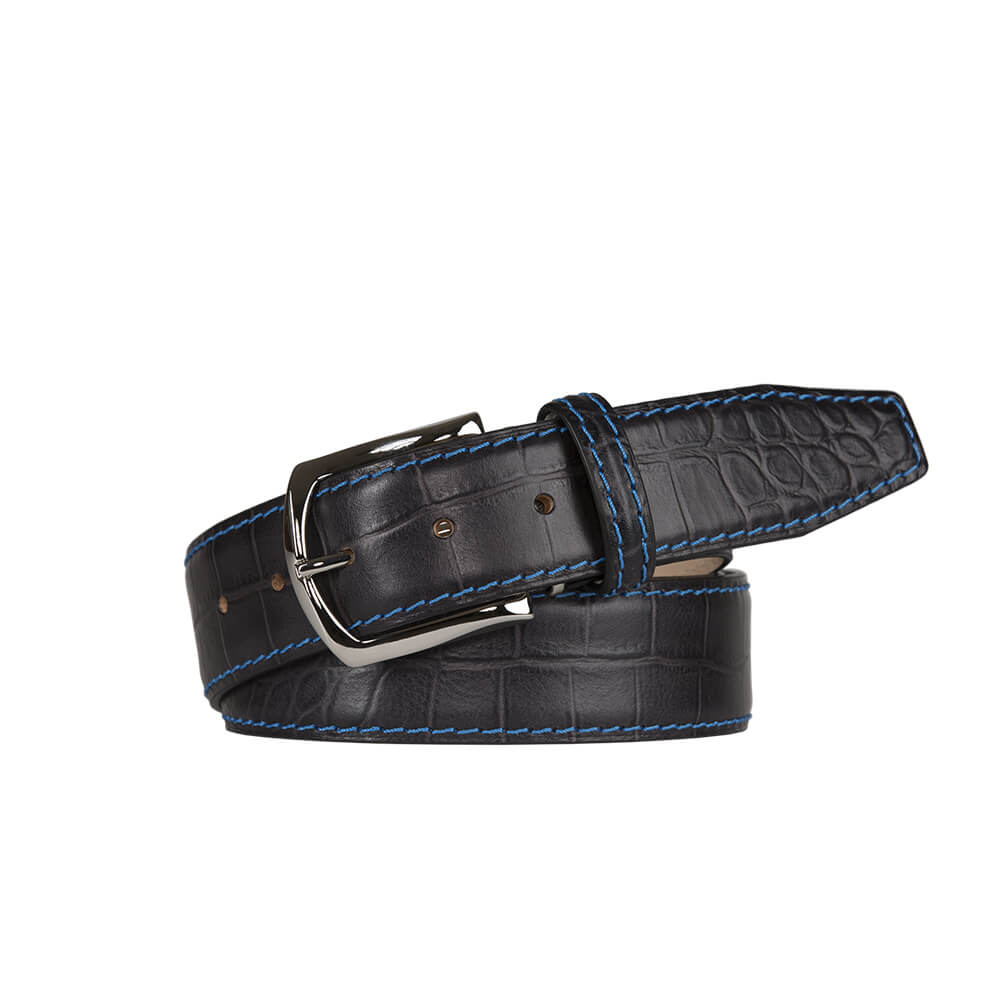 Matte Charcoal Gray Mock Gator Leather Belt - Cobalt / 44 / 35mm | Mens Fashion & Leather Goods by Roger Ximenez