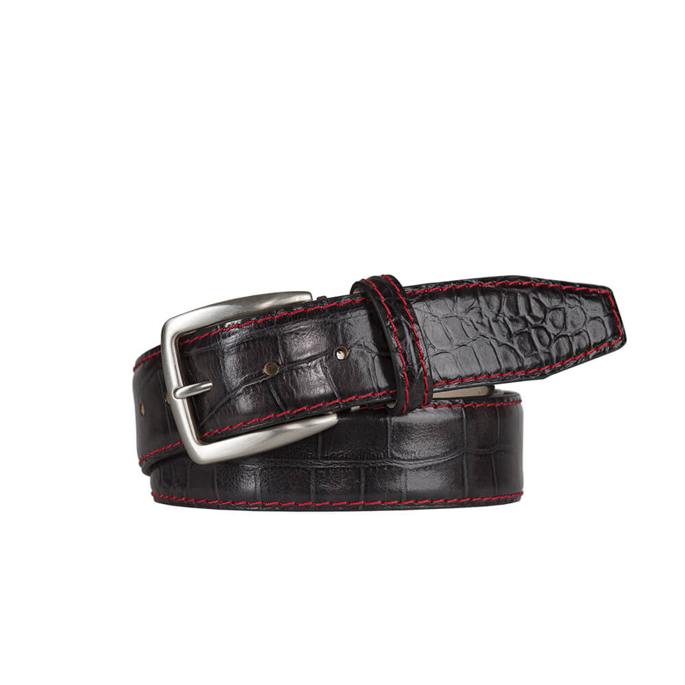 Classic Dark Brown Mock Gator Leather Belt