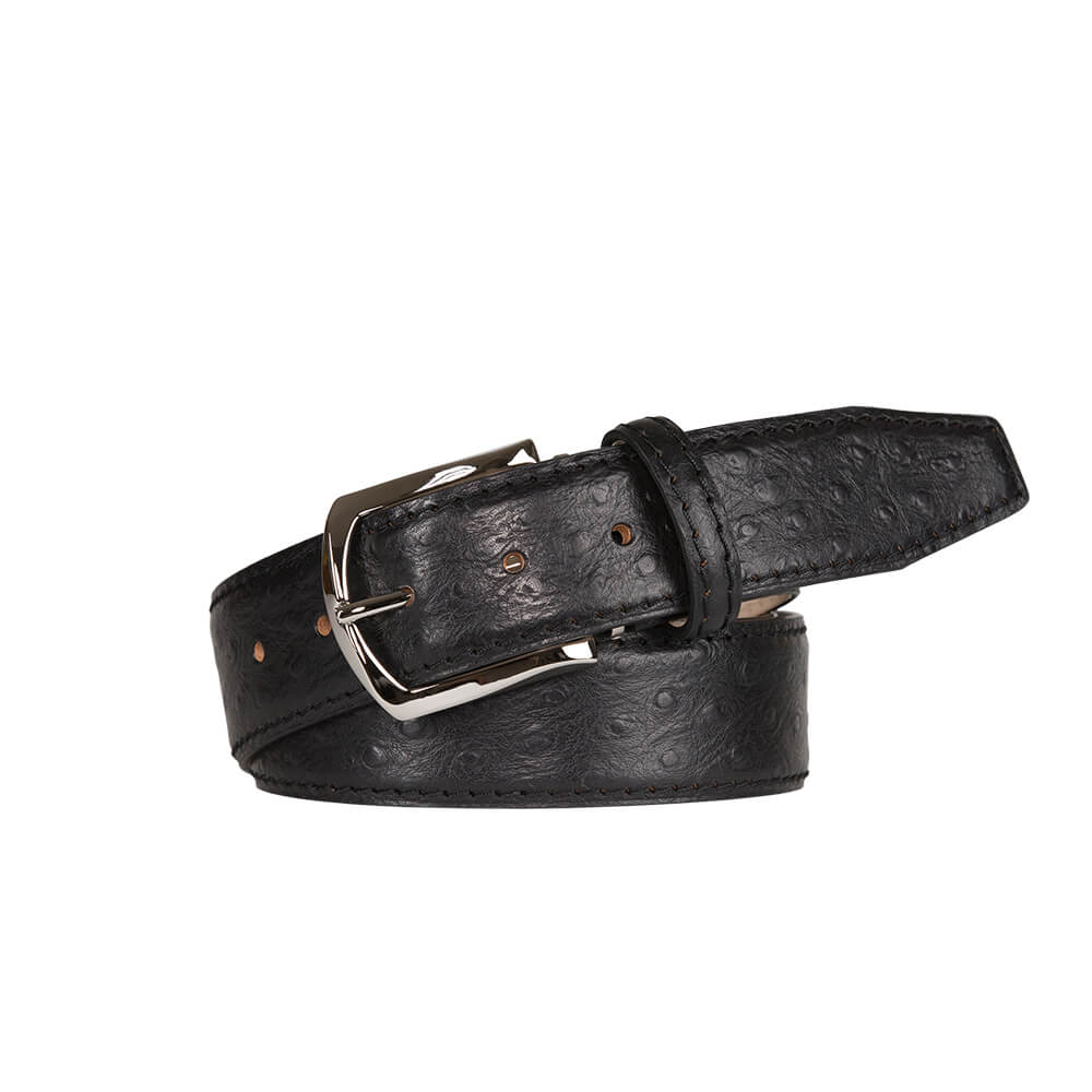 Black Mock Ostrich Leather Belt
