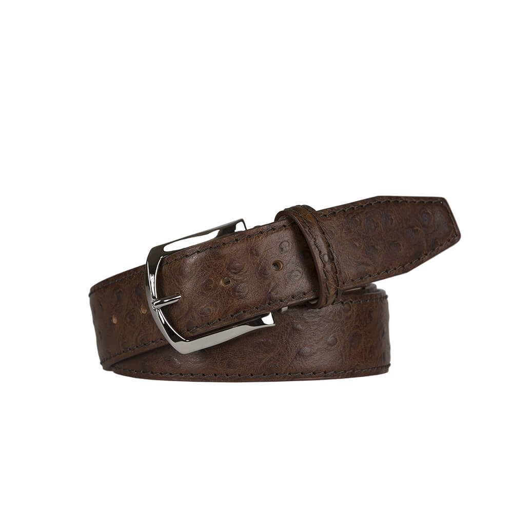 Brown Mock Ostrich Leather Belt - Brown / 44 / 35mm | Mens Fashion & Leather Goods by Roger Ximenez