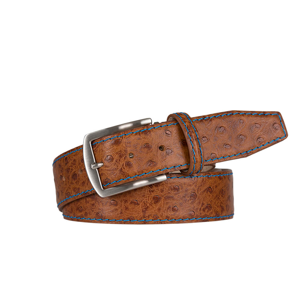 Cognac Mock Ostrich Leather Belt - Cobalt / 44 / 40mm | Mens Fashion & Leather Goods by Roger Ximenez