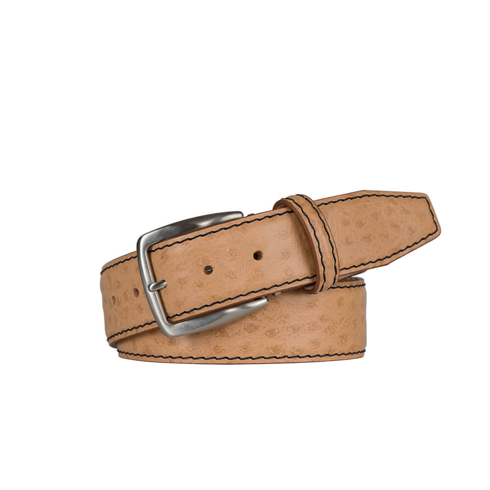 Cream Mock Ostrich Leather Belt - Black / 44 / 40mm | Mens Fashion & Leather Goods by Roger Ximenez