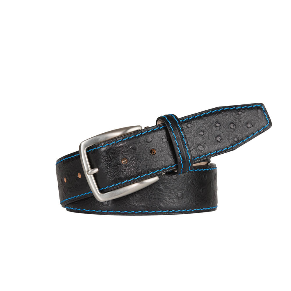 Black Mock Ostrich Leather Belt - Cobalt / 44 / 35mm | Mens Fashion & Leather Goods by Roger Ximenez