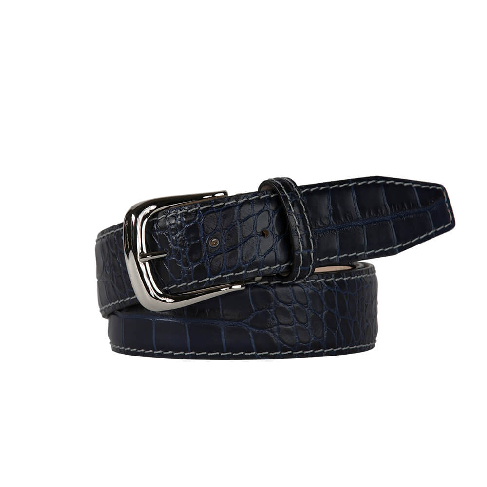 Navy Mock Croc Leather Belt - Gray / 44 / 35mm | Mens Fashion & Leather Goods by Roger Ximenez