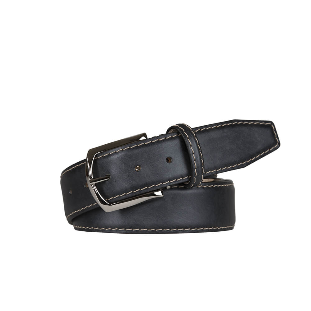 Pumice Surf Smooth Italian Calf Leather Belt - Ecru / 44 / 35mm | Mens Fashion & Leather Goods by Roger Ximenez