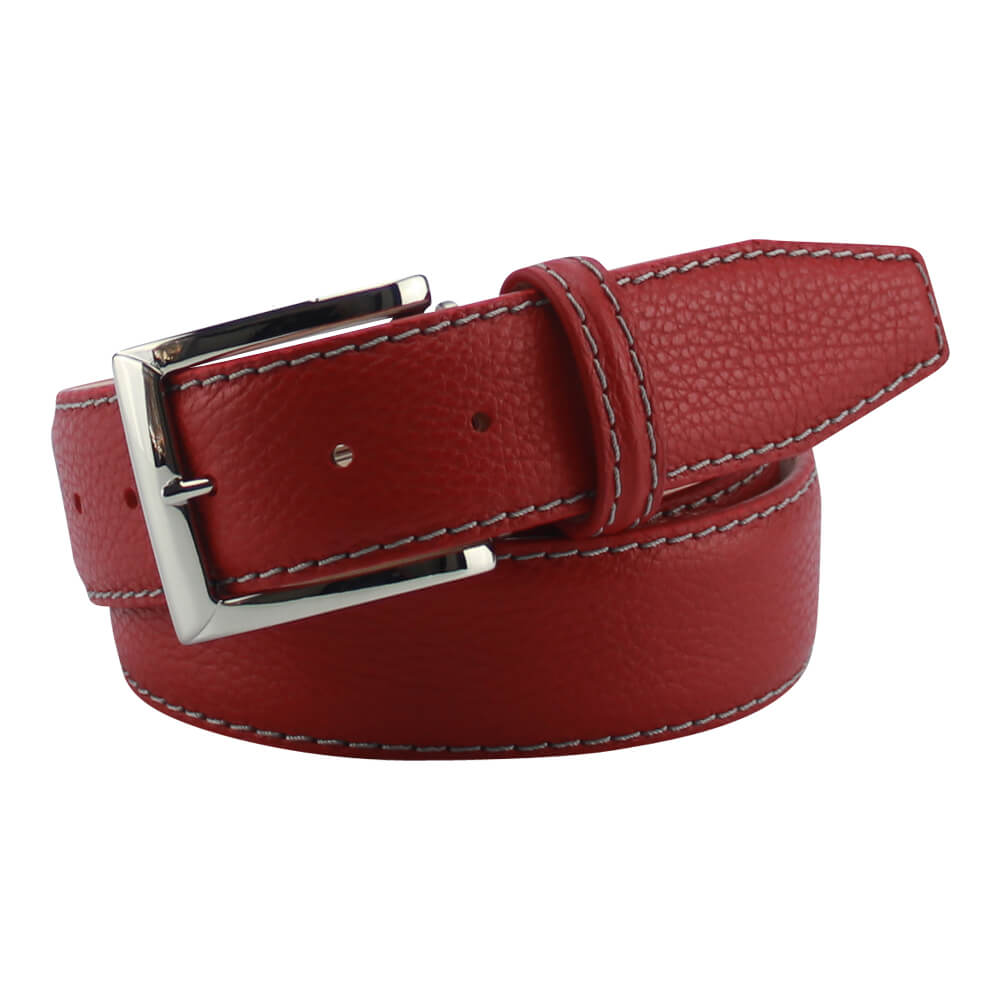 Red Italian Pebble Grain Belt - Gray / 44 / 35mm | Mens Fashion & Leather Goods by Roger Ximenez