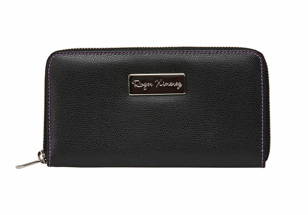 Black Limited Edition Women's Leather Wallet - Purple / One Size / Black | Mens Fashion & Leather Goods by Roger Ximenez