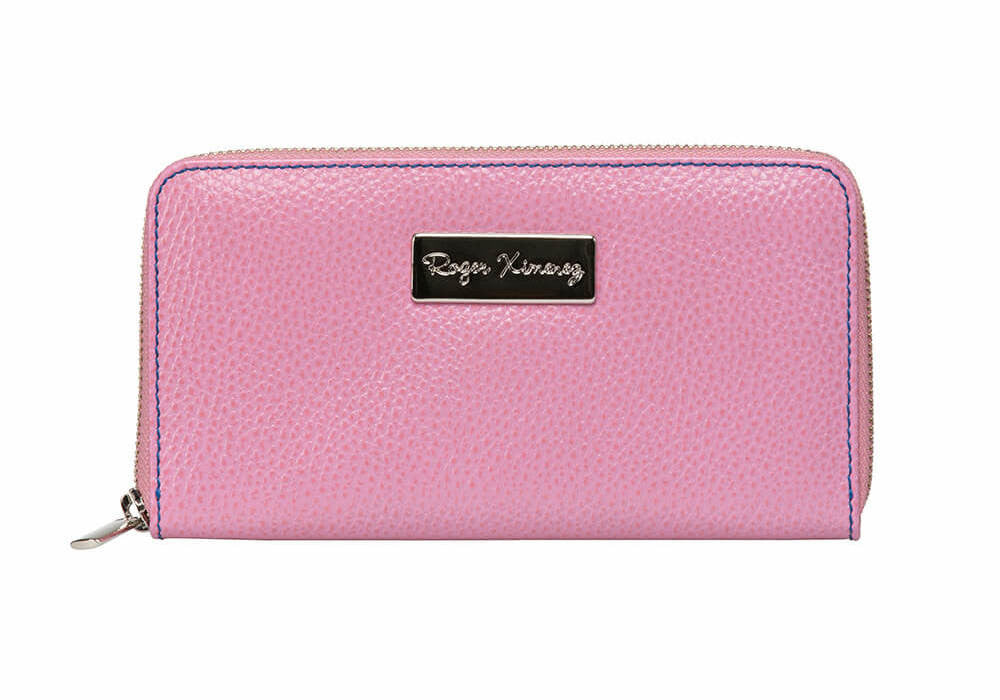 Pink Women's Leather Wallet - Bright Navy / One Size / Pink | Mens Fashion & Leather Goods by Roger Ximenez