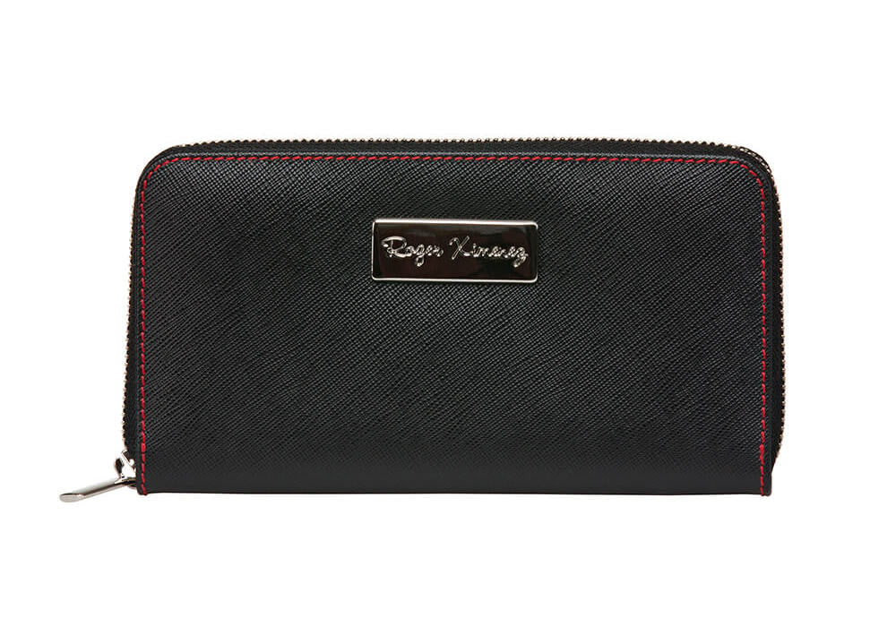 Black Saffiano Women's Leather Wallet - Red / One Size / Black | Mens Fashion & Leather Goods by Roger Ximenez