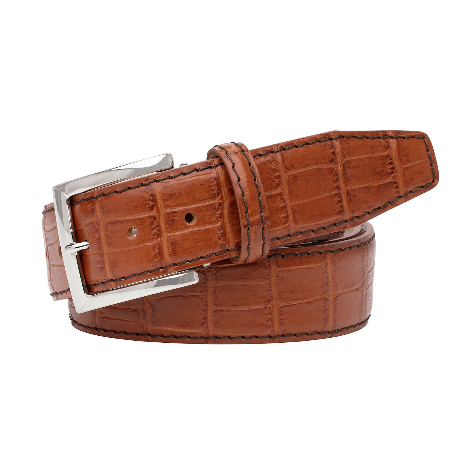 Cognac Mock Gator Leather Belt - Brown / 44 / 40mm | Mens Fashion & Leather Goods by Roger Ximenez