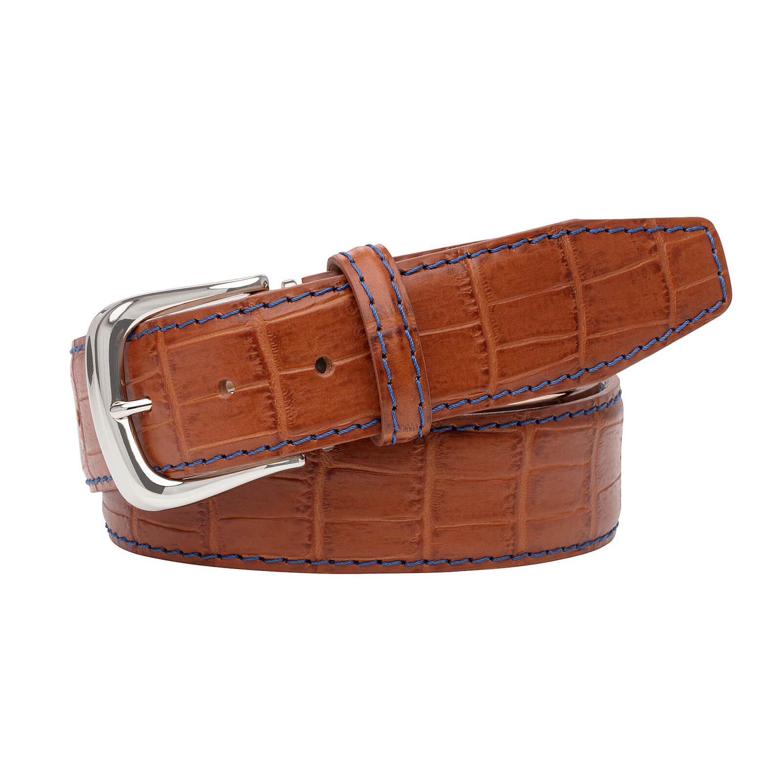 Cognac Mock Gator Leather Belt