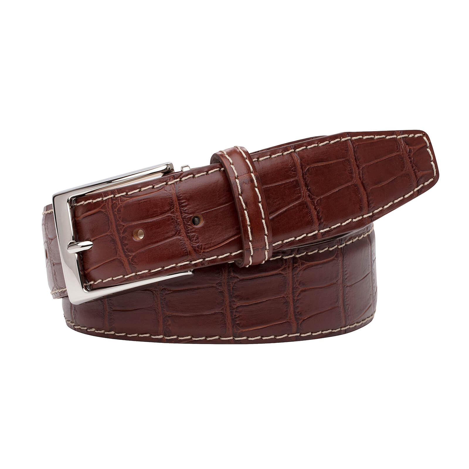 Rust Mock Gator Belt - Ecru / 44 / 40mm | Mens Fashion & Leather Goods by Roger Ximenez