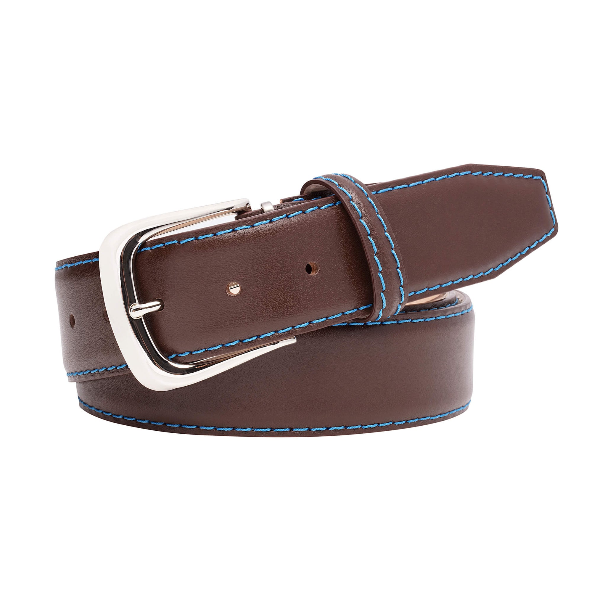 Brown Italian Calf Leather Belt - Cobalt / 44 / 35mm | Mens Fashion & Leather Goods by Roger Ximenez