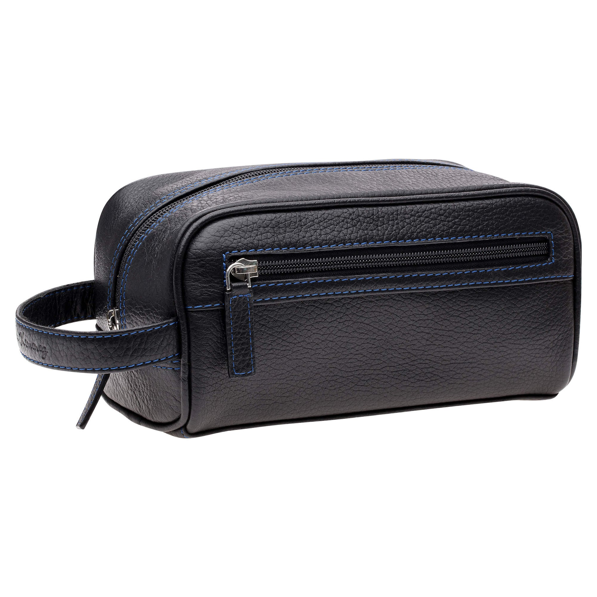 Black Leather Toiletry Bag - Cobalt | Mens Fashion & Leather Goods by Roger Ximenez