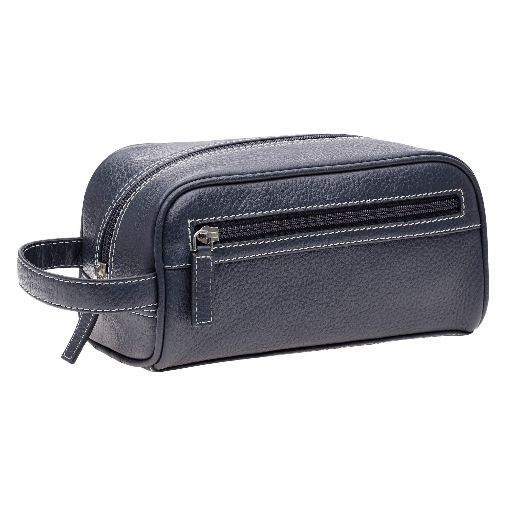 Navy Leather Toiletry Bag - White | Mens Fashion & Leather Goods by Roger Ximenez